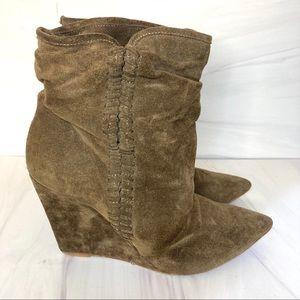 Zara Suede Wedge Booties 39 US 8